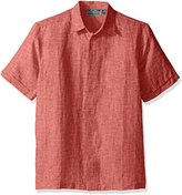 Cubavera Men's Short Sleeve Cross Dyed Woven Shirt with Pocket