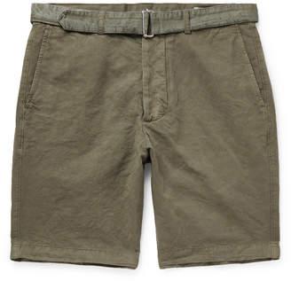 Officine Generale Julian Slim-Fit Garment-Dyed Cotton-Blend Shorts