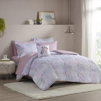 Home Essence Apartment Samara Zebra Printed Comforter and Sheet Set, Full, Lavender