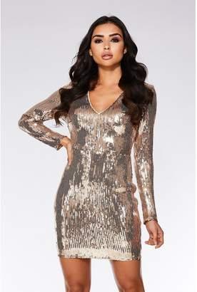 Quiz Rose Gold Sequin Bodycon Dress