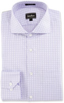 Neiman Marcus Classic-Fit Regular-Finish Square-Print Dress Shirt, Lavender