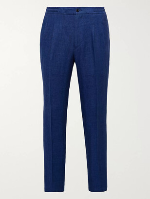 Rubinacci Tapered Herringbone Linen Drawstring Trousers