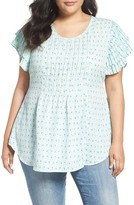 Melissa McCarthy Plus Size Women's Print Pintuck Pleat Blouse