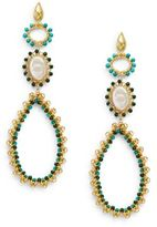 Azaara 13MM Freshwater Oval Coin Pearl, Turquoise & Aventurine Beaded Drop Earrings