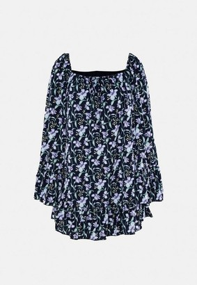 Missguided Floral Flared Sleeve Smock Dress