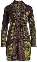 Aller Simplement Brown & Green Abstract Gather-Front V-Neck Tunic