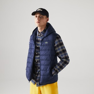 Lacoste Men's SPORT Hooded Water-Resistant Ripstop Quilted Vest