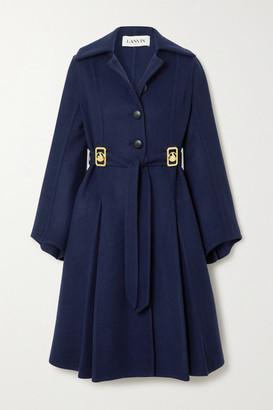 Lanvin Belted Embellished Wool-blend Coat - Navy