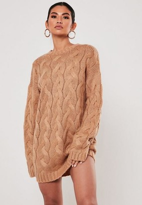 Missguided Camel Crew Neck Cable Knit Sweater Dress