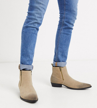 ASOS DESIGN Wide Fit stacked heel western chelsea boots in stone faux suede with zips