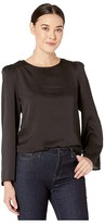 Vince Camuto Long Sleeve Hammer Satin Shoulder Pad Blouse (Rich Black) Women's Clothing