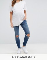 Asos RIDLEY Skinny Jeans In Roy Dark Stonewash with Busted Knees