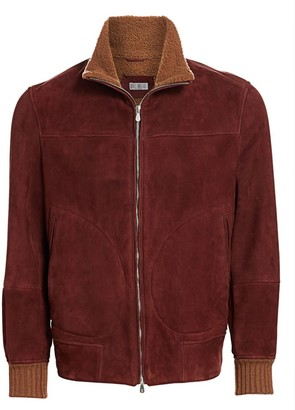 Brunello Cucinelli Shearling-Lined Suede Bomber Jacket