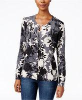 Karen Scott Floral-Print Herringbone Cardigan, Only at Macy's