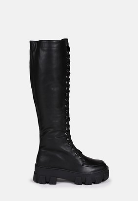 Missguided Black Lace Up Chunky Sole Long Boots