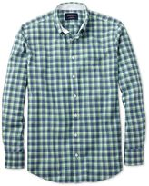Charles Tyrwhitt Classic Fit Blue and Green Check Washed Oxford Cotton Casual Shirt Single Cuff Size Small