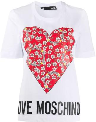 Love Moschino floral heart logo print T-shirt