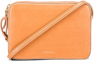 Mansur Gavriel Double Zip Crossbody Bag in Cammello | FWRD