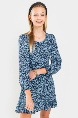 francesca's franki Animal Print Mini Dress for Girls - Blue