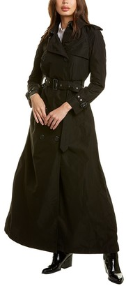 Burberry Extra Long Taffeta & Leather-Trim Trench Coat