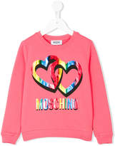 Moschino Kids logo and hearts print sweatshirt
