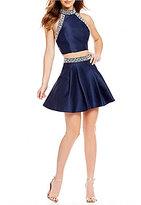 B. Darlin Mock Neck Beaded Trim Two Piece Dress