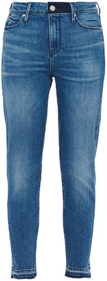 RtA Cropped Frayed Faded Mid-rise Skinny Jeans