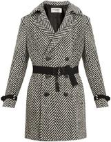 Saint Laurent Chevron tie-waist wool-blend overcoat