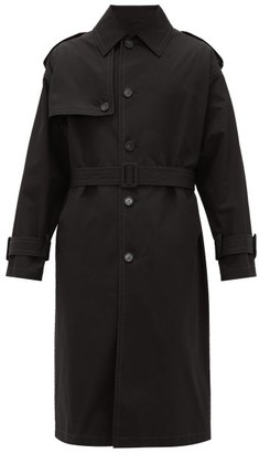 Versace Belted Cotton Trench Coat - Black