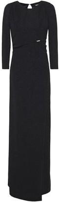 Just Cavalli Wrap-effect Glittered Stretch-knit Maxi Dress