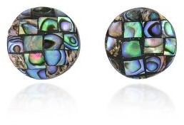 Aeravida Handmade Classic Button Vibrant Abalone Shell Mosaic Round Circle Stud Earrings