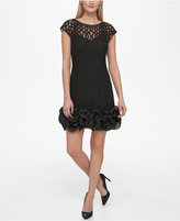 Jessica Simpson Lattice-Overlay Ruffled Dress