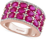Effy Rosa by Ruby (4-1/4 ct. t.w.) and Diamond (3/8 ct. t.w.) Wide Style Ring in 14k Rose Gold