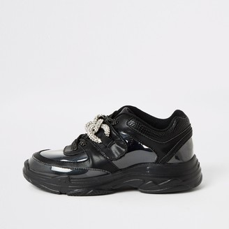 River Island Girls Black perspex diamante chunky trainers