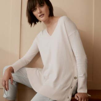 The White Company Cotton-Rich Button-Side Jumper, Petal Pink, 6