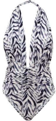 Norma Kamali Slinky Marissa Halterneck Zebra-print Swimsuit - Blue Print