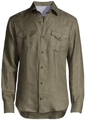 Eleventy Safari Linen Sportshirt