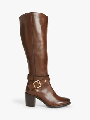 John Lewis & Partners Tamara Leather Harness Detail Heeled Knee High Boots, Brown