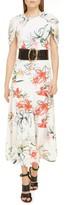 Alexander McQueen Gathered Cape Back Floral Crepe de Chine Maxi Dress