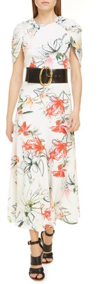 Alexander McQueen Gathered Cape Back Floral Crepe de Chine Maxi Dress