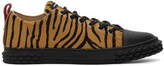 Giuseppe Zanotti Black and Beige Zebra Blabber Sneakers