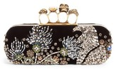 Alexander McQueen Medievil Embellished Velvet Knuckle Clutch - None