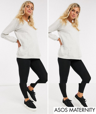 ASOS DESIGN Maternity 2 pack over the bump high waisted leggings in black SAVE