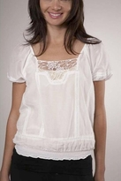 Joie Mya Embroidered Top in Porcelain
