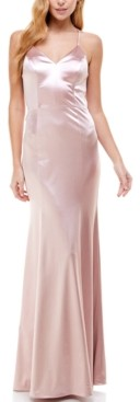 City Studios Juniors' Lace-Back Satin Gown, Created for Macy's