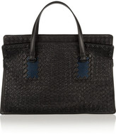 Bottega Veneta Raffia-embroidered intrecciato leather tote
