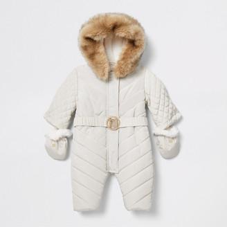 River Island Baby cream padded snowsuit