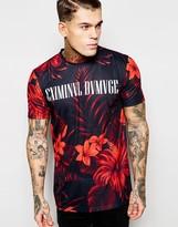 Criminal Damage Floral T-shirt With Logo - Black