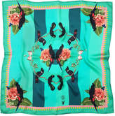 Texas and the Artichoke - Large Tropical Rainforest Teal Silk Scarf