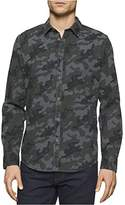 Calvin Klein Jeans Men's Melange Camo Print Long Sleeve Button Down Shirt